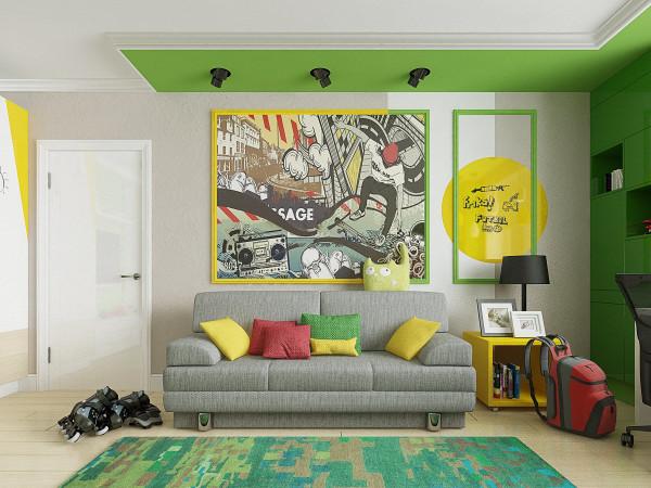 Аналогичная схема, сочетающая рядом стоящие оттенки желтого и зеленого