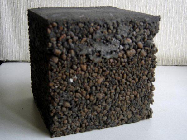 Бетонная стяжка поверх керамзитной подушки в разрезе.