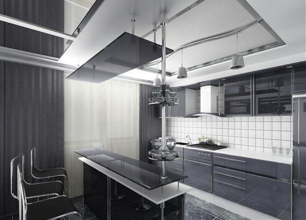 Блеск никелированного металла и строгие современные формы говорят о принадлежности интерьера к стилю хай-тек.