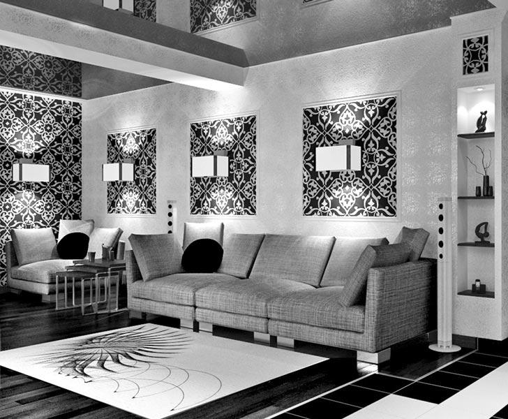 интерьер гостиной в черно белом цвете фото