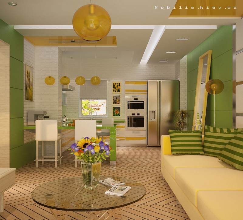 Кухня гостиная дизайн интерьера