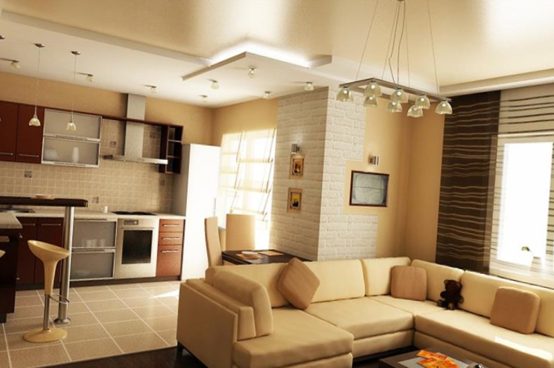Дизайн зал с кухней