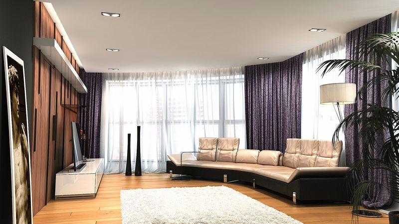 Гостиная с 4 окнами дизайн
