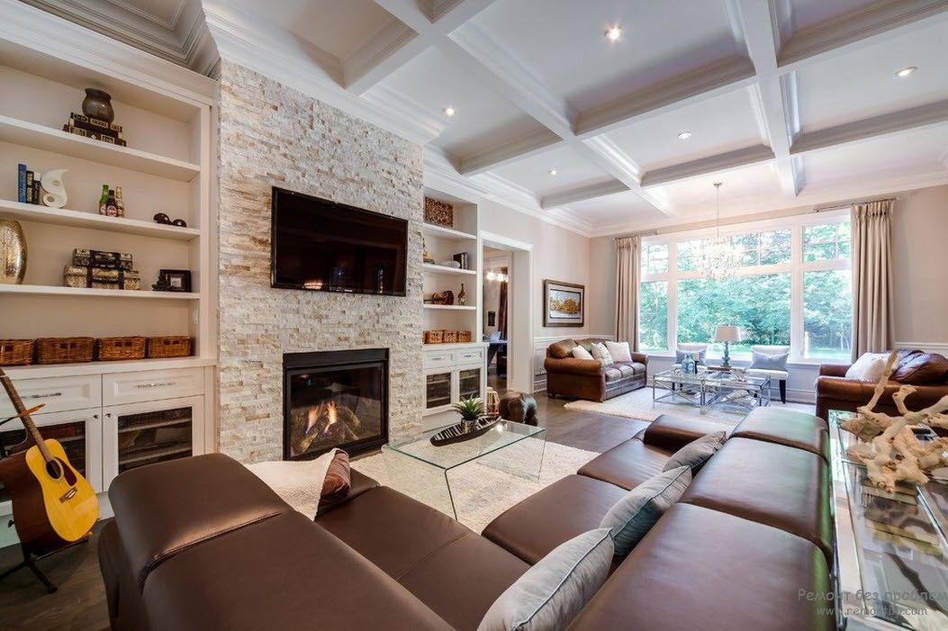 Интерьер гостиной с камином фото в доме
