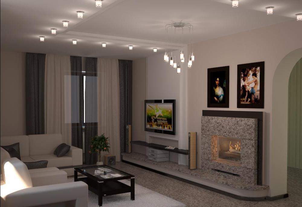 гостиная 18 квадратов дизайн фото с электрокамином