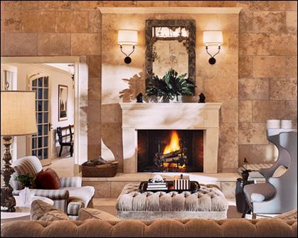 Дизайн гостиной с камином комфортно и