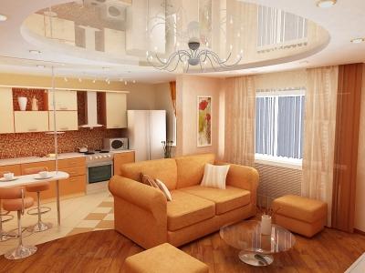 дизайн гостиной совместно с кухней