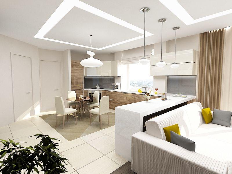 потолок кухня-гостиная фото