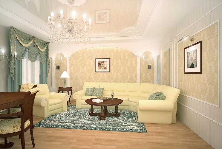 Дизайн гостиной в классическом стиле в квартире