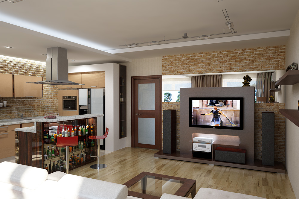 фото интерьер кухня-студия