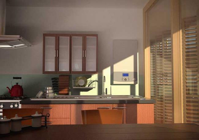 Визуализация водонагревателя в кухонном интерьере.
