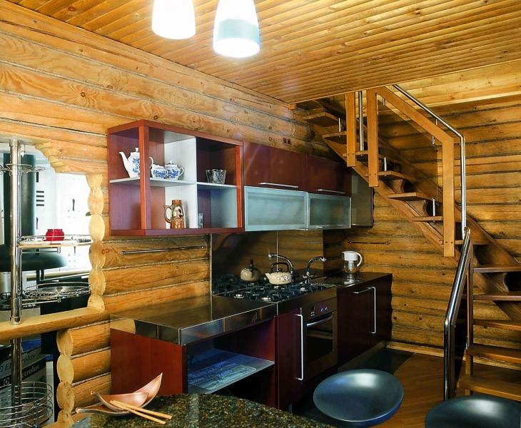 Интерьер кухни в деревянном доме своими руками фото