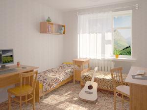 Дизайн маленькой комнаты в общежитии