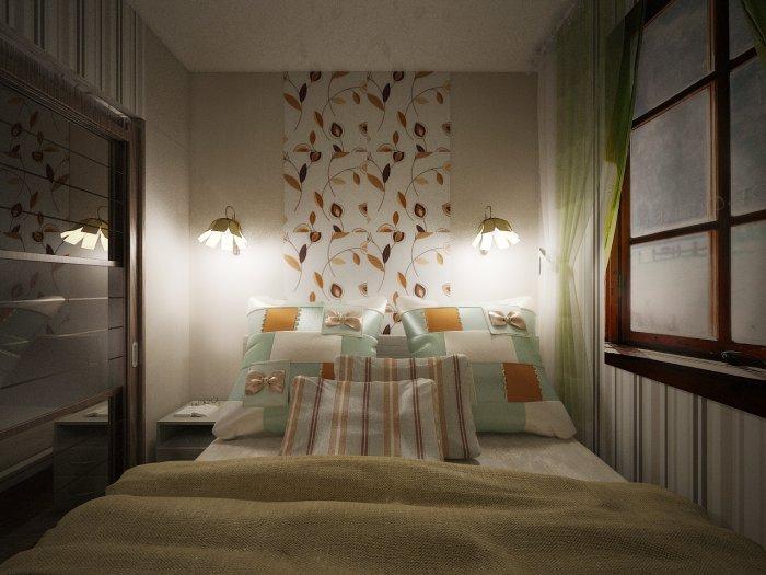 Дизайн спальни с 1 окном