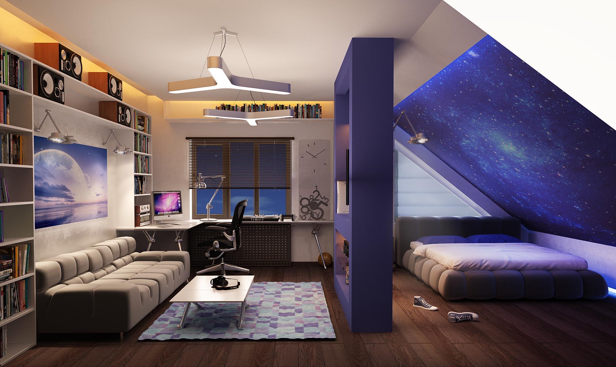 Интерьер комнаты мансарды в фото