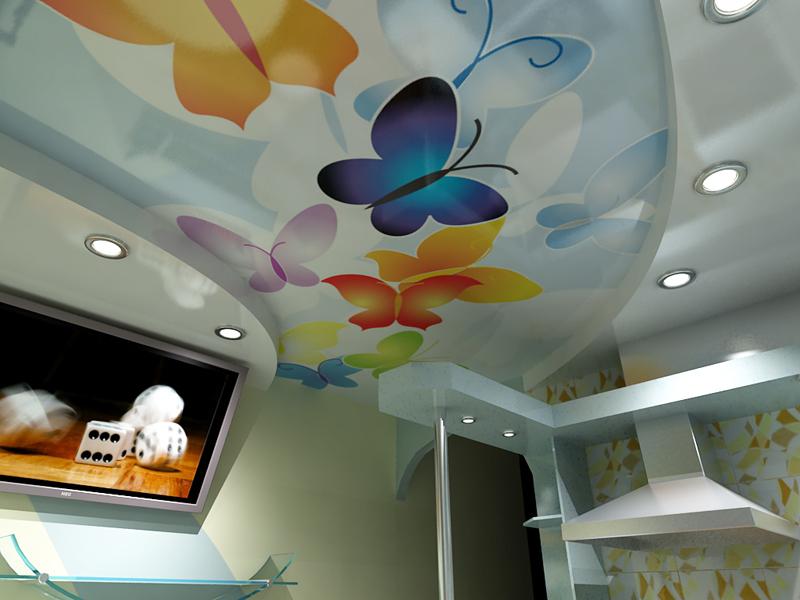 дизайн натяжної стелі в кухні