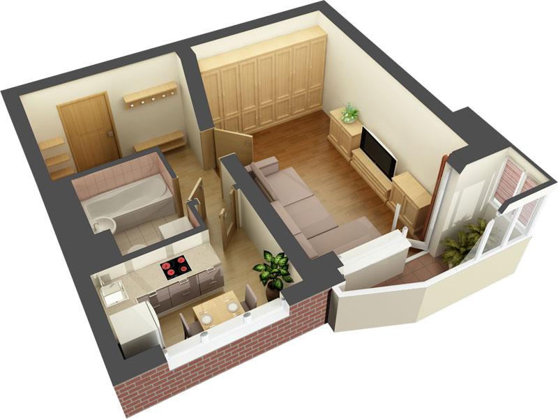 Дизайн-проект для однокомнатной квартиры