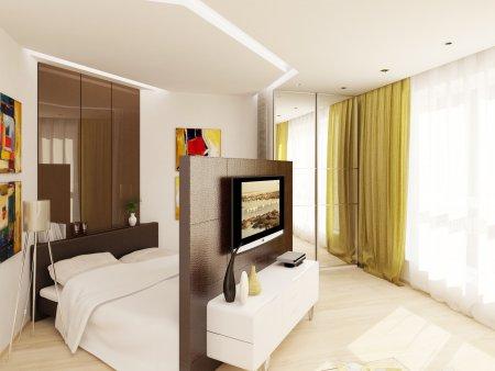Дизайн студии со спальным местом 26