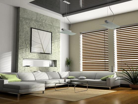 Хай тек дизайн гостиной с двумя окнами