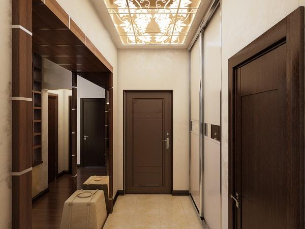 натяжной потолок в прихожей с точечными светильниками