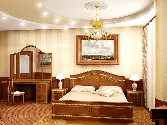Дизайн потолков в спальне может быть