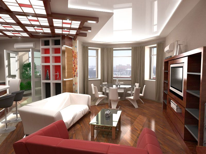 Дизайн проект гостиной кухни