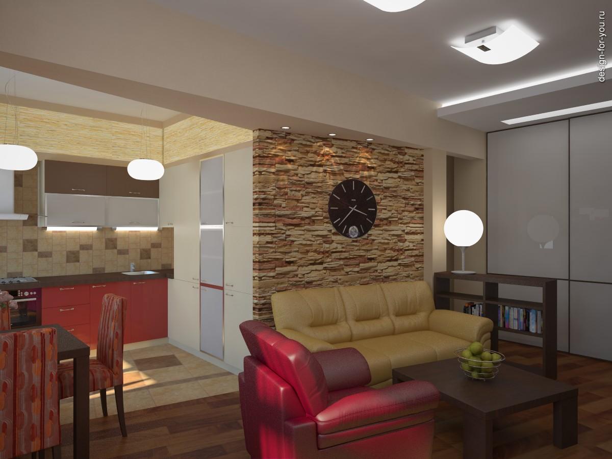 Дизайн проект кухни гостиной. Г-образная кухня + гостиная