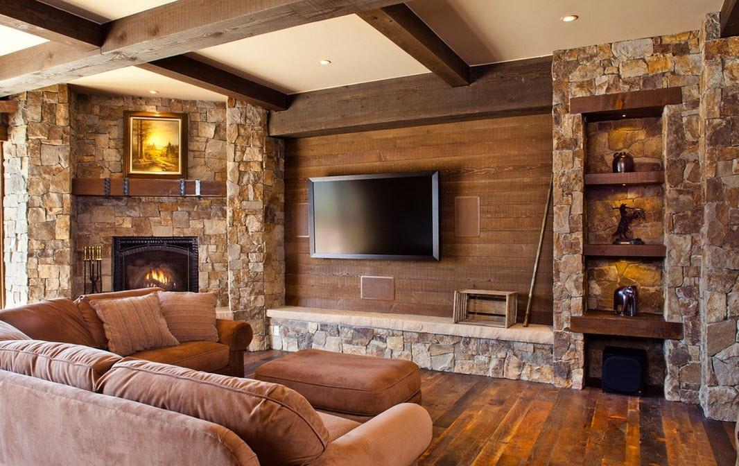 Дизайн дома из дерева и камня