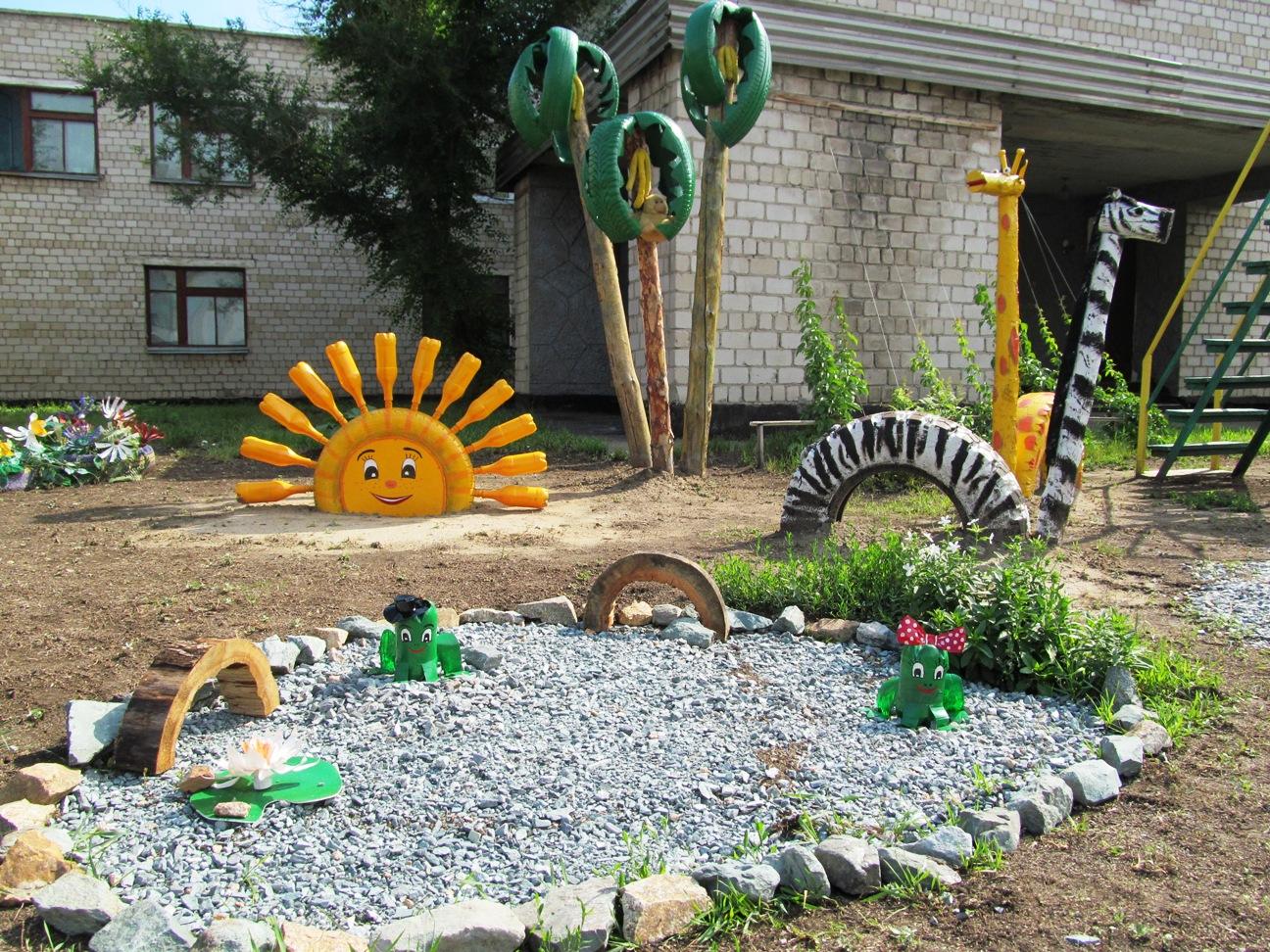 Идеи оформления детской площадки в детском саду своими руками фото