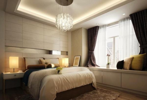 Дизайн штор для спальни большой площади: темные портьеры создают необходимый контраст