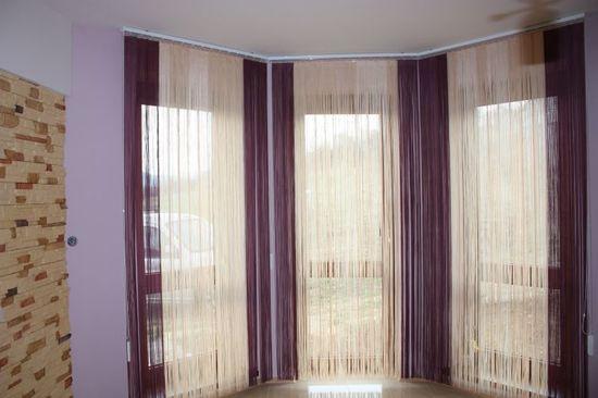 Дизайн шторы кисея для эркера