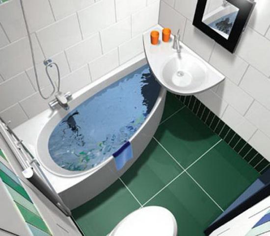 Элементы необычной формы позволят сделать удобным даже самые маленькие ванные комнаты