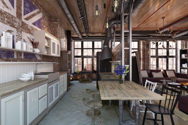 Если планировка кухни позволяет, то можно сделать окна на всю стену, чтобы в комнате было максимум естественного освещения.