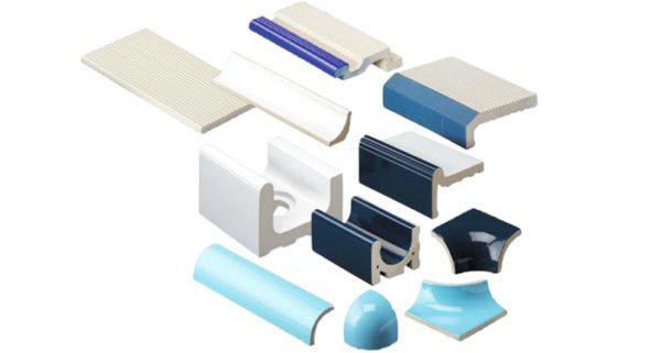 Фасонная плитка нужна для отделки конструктивных элементов бассейна.