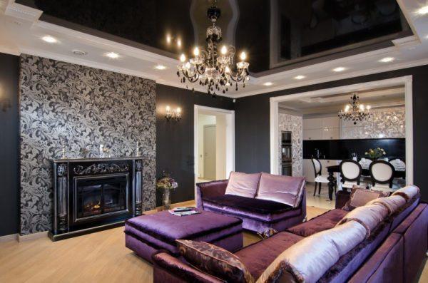 Гостиная с камином в стиле ар-деко.