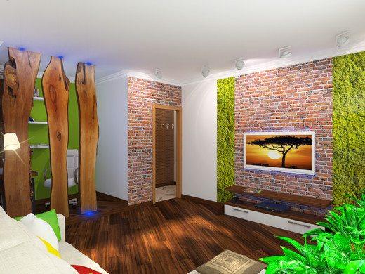 Грубая необрезная доска как элемент интерьера в стиле кантри.
