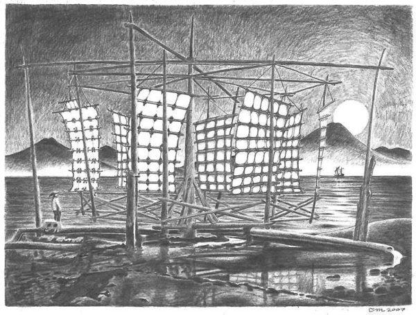 Иллюстрация китайской ветряной мельницы