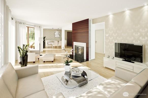 Интерьер гостиной со стенкой