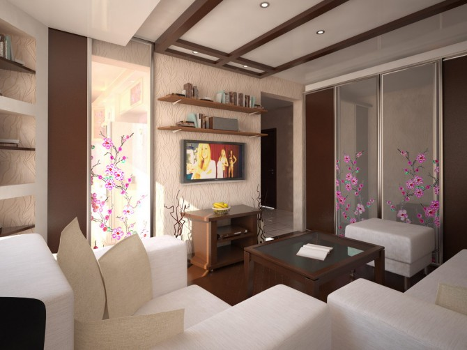 Интерьеры гостиной и спальни для малогабаритной квартиры