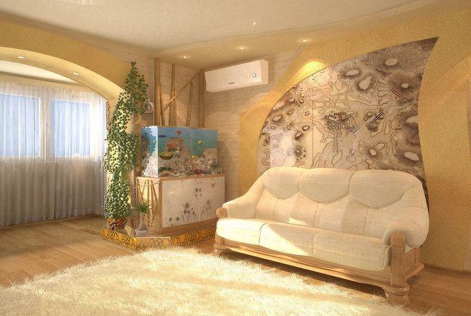 Интерьер гостиной в сером цвете