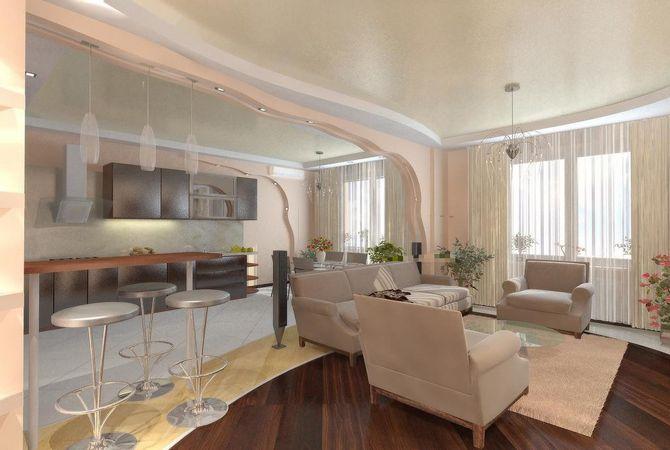 интерьер кухни гостиной столовой