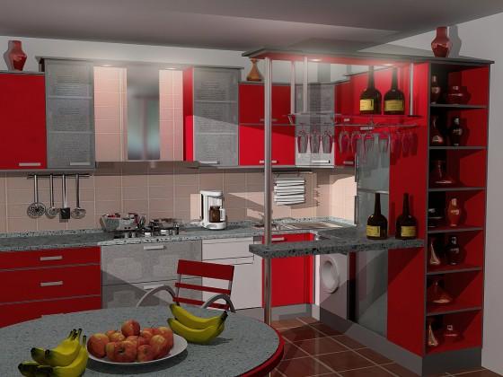 интерьер кухни с газовой колонкой. Красный в интерьере кухни
