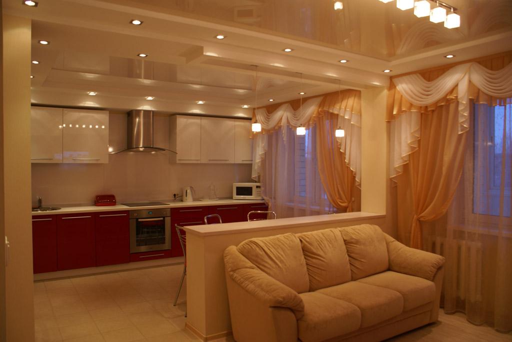 Дизайн и интерьер гостиной совмещенной с кухней фото