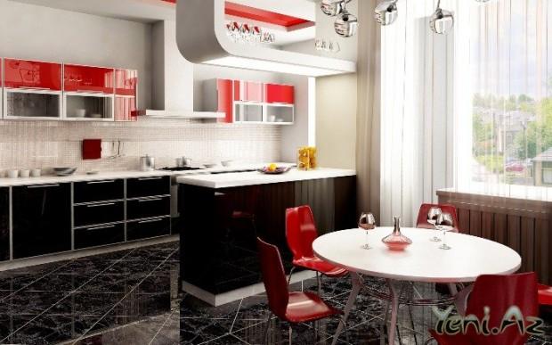 Интерьер кухни столовой без помощи