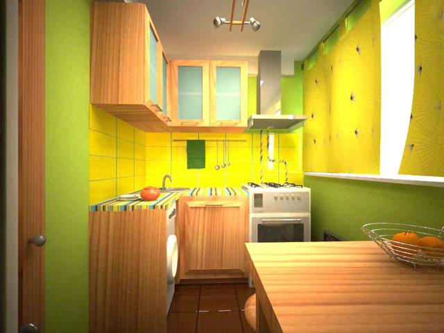 Пример яркого дизайна маленькой кухни