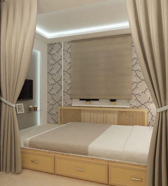 Интерьер спальни с восточными нотками.