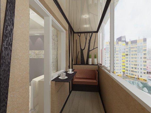 Дизайн балкона стен