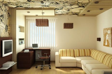 Пример оформления потолка в гостиной