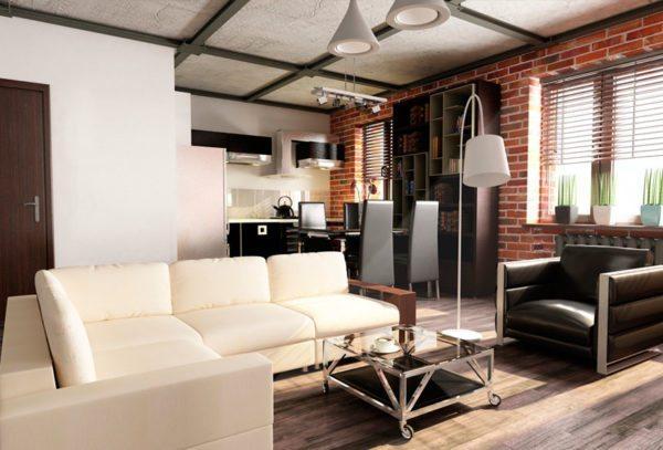 Кирпичная кладка будет уместна в гостиной в стиле лофт.