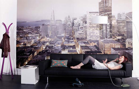 оформление гостиной фотообоями: